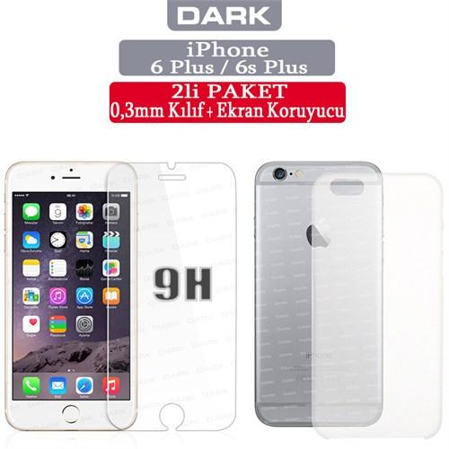 Dark Apple iPhone 6 Plus 0,3mm Ultra İnce Mat Kılıf + 9H Cam Ekran Koruyucu (DK-AC-CPI6PKL1H)