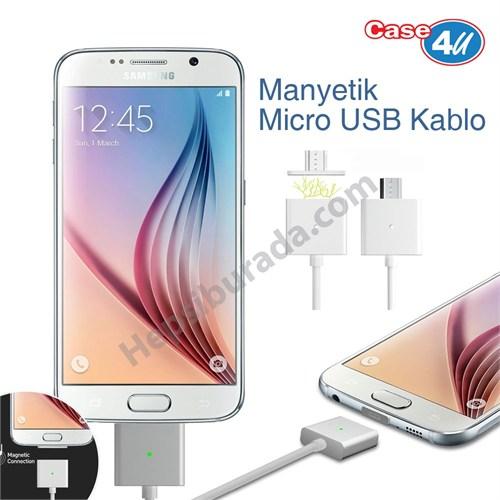 Case 4U Manyetik Micro USB Data ve Şarj Kablosu (Samsung, Nokia, Sony, Huawei, General Mobile, Asus,