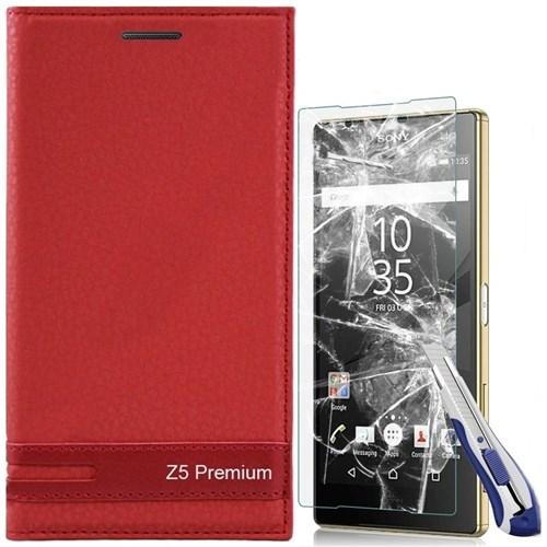 KılıfShop Sony Xperia Z5 Premium Kapaklı Magnum Kılıf Kırılmaz Cam Ekran Koruyucu