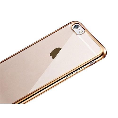 Ebox iPhone 6 Plus/6s Plus Kenarları Altın Varaklı Şeffaf İnce Silikon Arka Kapak - EBX-0063