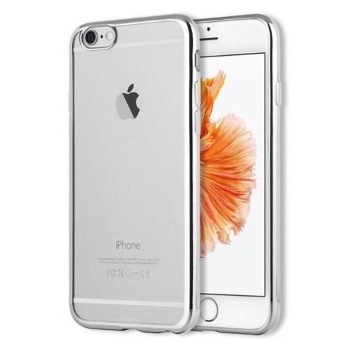 Ebox iPhone 6/6s Kenarları Gümüş Varaklı Şeffaf İnce Silikon Arka Kapak - EBX-0062