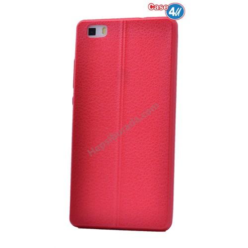 Case 4U Huawei P8 Lite Parlak Desenli Silikon Kılıf Kırmızı