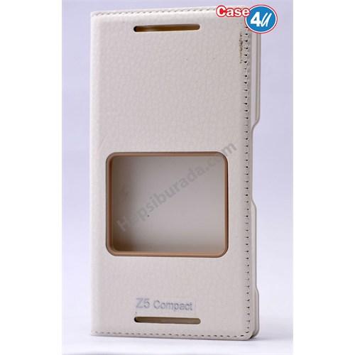 Case 4U Sony Xperia Z5 Compact Dolce Kapaklı Kılıf Beyaz