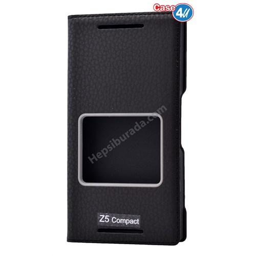 Case 4U Sony Xperia Z5 Compact Dolce Kapaklı Kılıf Siyah