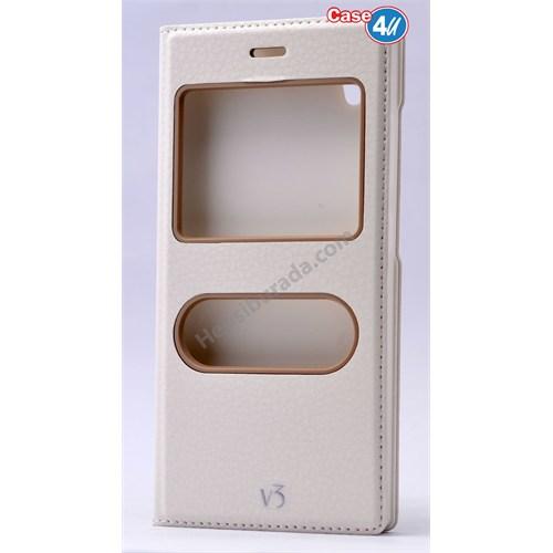 Case 4U Vestel Venus V3 5040 Dolce Kapaklı Kılıf Beyaz