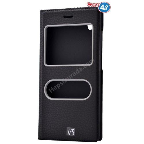 Case 4U Vestel Venus V3 5040 Dolce Kapaklı Kılıf Siyah