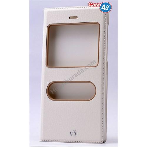 Case 4U Vestel Venus V3 5570 Dolce Kapaklı Kılıf Beyaz