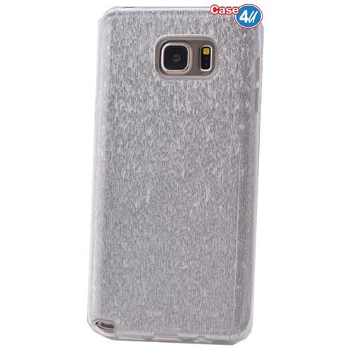 Case 4U Samsung Galaxy Note 5 Simli Silikon Kılıf Gümüş