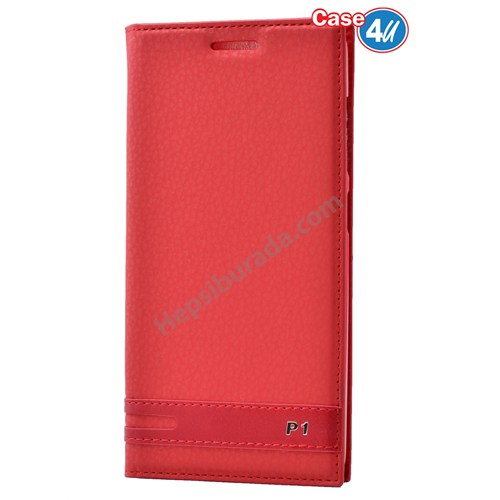 Case 4U Lenovo Vibe P1 Gizli Mıknatıslı Kapaklı Kılıf Kırmızı