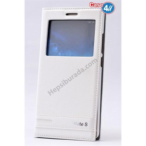 Case 4U Huawei Mate S Pencereli Kapaklı Kılıf Beyaz