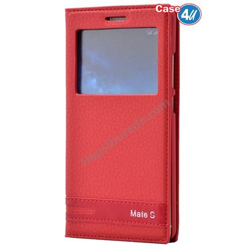 Case 4U Huawei Mate S Pencereli Kapaklı Kılıf Kırmızı