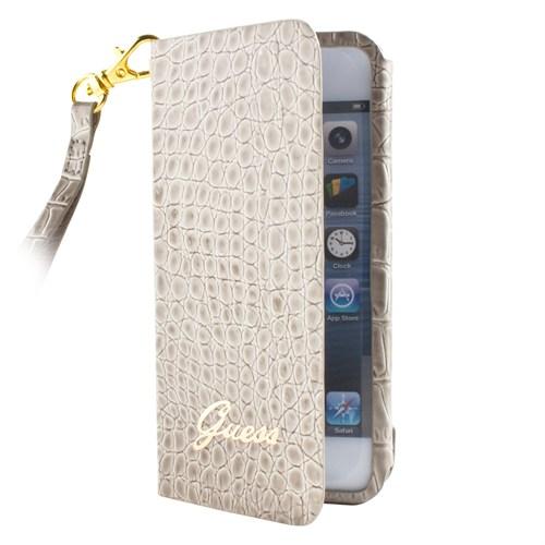 Guess iPhone 5 Ultra Slim Wall Case With Strap Croco Beige Kılıf - 153.280.0030