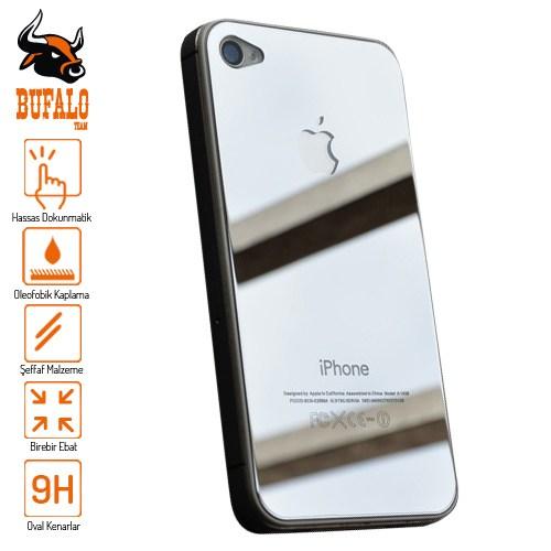 Bufalo Apple iPhone 4S Aynalı Ön Arka Cam Ekran Koruyucu Silver