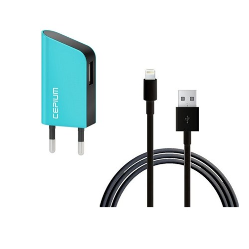 Cepium Apple Lisanslı 1A Ev Şarj Aleti + Lightning USB Kablo Hediye - Turkuaz - TR-1915_T
