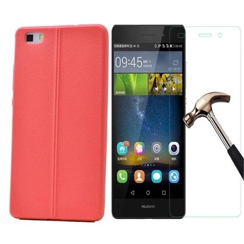 Kılıfshop Huawei P8 Lite Silikon Kılıf Dikiş Desenli + Kırılmaz Cam Ekran Koruyucu