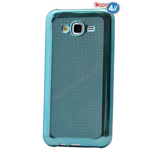 Case 4U Samsung Galaxy J7 Hasır Desenli Ultra İnce Silikon Kılıf Mavi