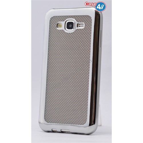 Case 4U Samsung Galaxy J7 Hasır Desenli Ultra İnce Silikon Kılıf Gümüş