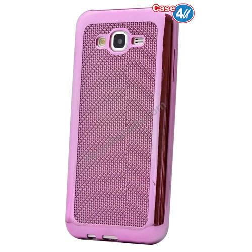 Case 4U Samsung Galaxy J5 Hasır Desenli Ultra İnce Silikon Kılıf Pembe