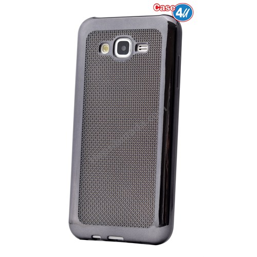 Case 4U Samsung Galaxy J2 Hasır Desenli Ultra İnce Silikon Kılıf Siyah