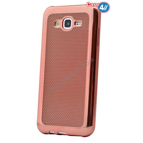 Case 4U Samsung Galaxy J2 Hasır Desenli Ultra İnce Silikon Kılıf Rose Gold