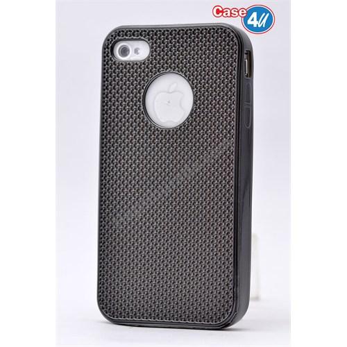 Case 4U Apple İphone 4S Hasır Desenli Ultra İnce Silikon Kılıf Siyah