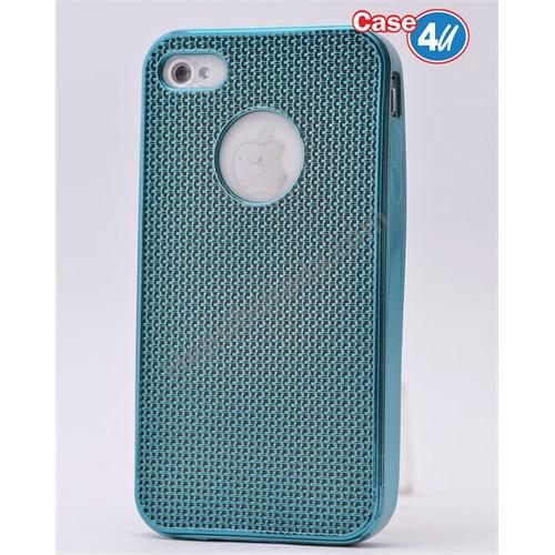 Case 4U Apple İphone 4S Hasır Desenli Ultra İnce Silikon Kılıf Mavi