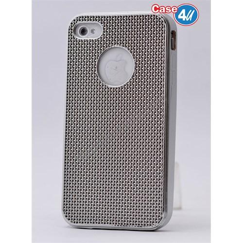 Case 4U Apple İphone 4S Hasır Desenli Ultra İnce Silikon Kılıf Gümüş