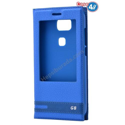 Case 4U Huawei G8 Pencereli Kılıf Mavi