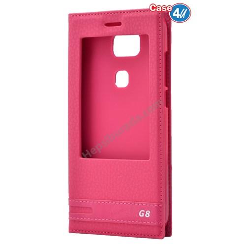 Case 4U Huawei G8 Pencereli Kılıf Pembe