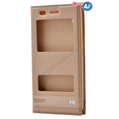 Case 4U Huawei Y6 Pencereli Kılıf Altın