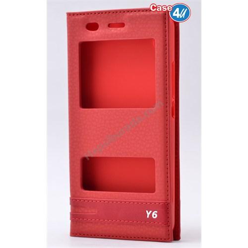 Case 4U Huawei Y6 Pencereli Kılıf Kırmızı