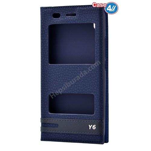Case 4U Huawei Y6 Pencereli Kılıf Lacivert