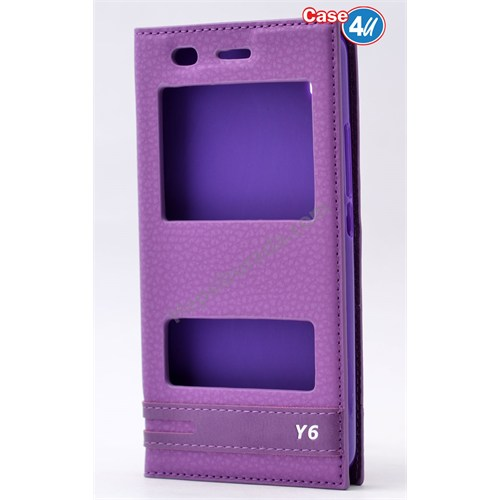 Case 4U Huawei Y6 Pencereli Kılıf Mor
