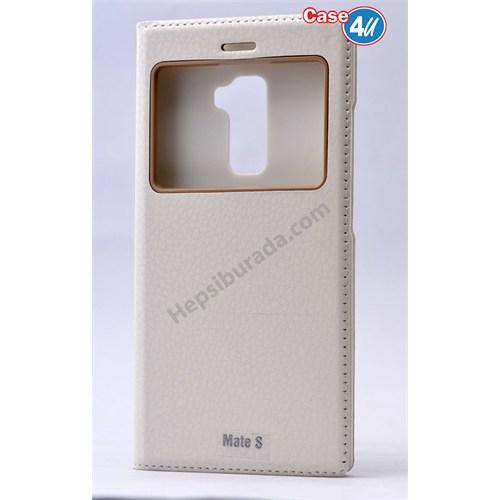 Case 4U Huawei Mate S Dolce Kapaklı Kılıf Beyaz