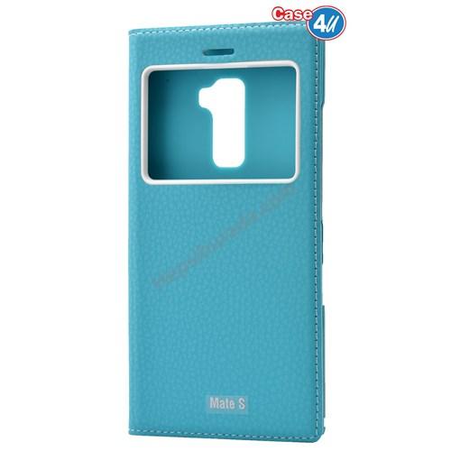Case 4U Huawei Mate S Dolce Kapaklı Kılıf Mavi