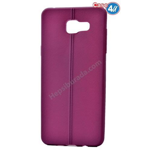 Case 4U Samsung A710 Galaxy A7 Desenli Silikon Kılıf Mor