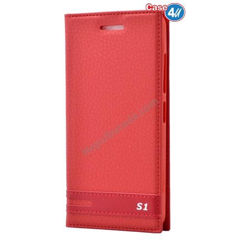 Case 4U Lenovo Vibe S1 Kapaklı Kılıf Kırmızı