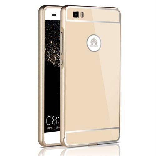 Microsonic Huawei Ascend P8 Lite Kılıf Luxury Mirror Gold
