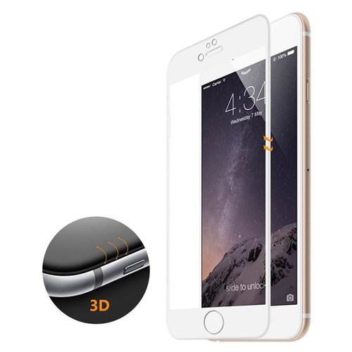 Microsonic İphone 6S Plus 3D Kavisli Temperli Cam Full Ekran Koruyucu Kırılmaz Film Beyaz