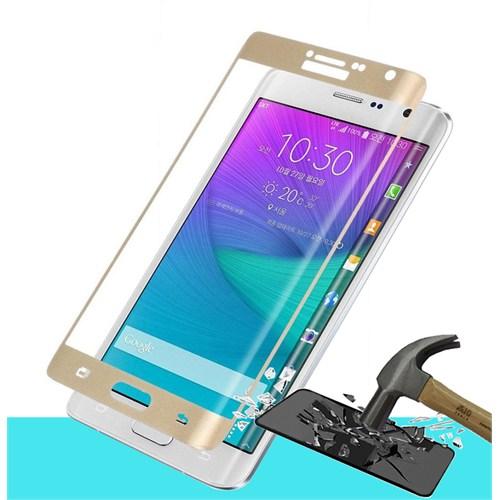 Microsonic Samsung Galaxy Note Edge 3D Kavisli Temperli Cam Ekran Koruyucu Kırılmaz Film Gold