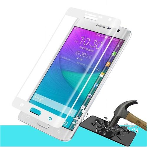 Microsonic Samsung Galaxy Note Edge 3D Kavisli Temperli Cam Ekran Koruyucu Kırılmaz Film Beyaz