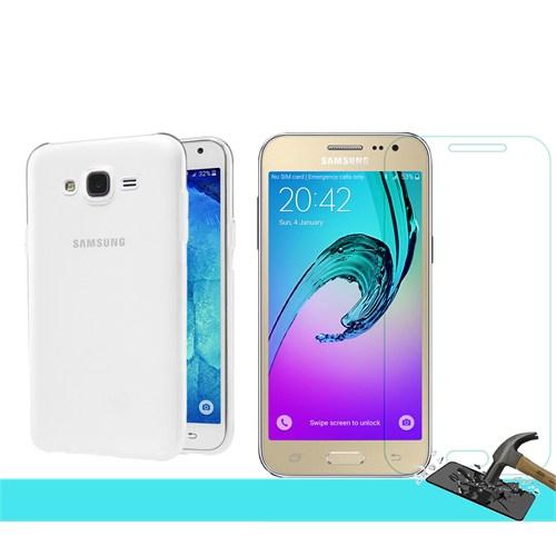 Microsonic Samsung Galaxy J2 Transparant Kılıf & Kırılmaz Cam