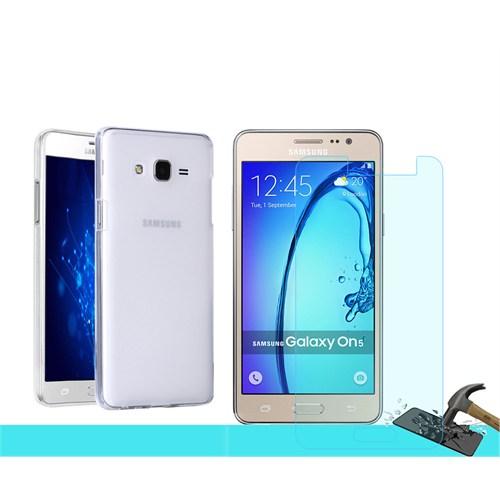 Microsonic Samsung Galaxy On5 Transparant Kılıf & Kırılmaz Cam
