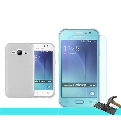 Microsonic Samsung Galaxy J1 Ace Transparant Kılıf & Kırılmaz Cam