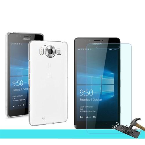 Microsonic Microsoft Lumia 950 Transparant Kılıf & Kırılmaz Cam