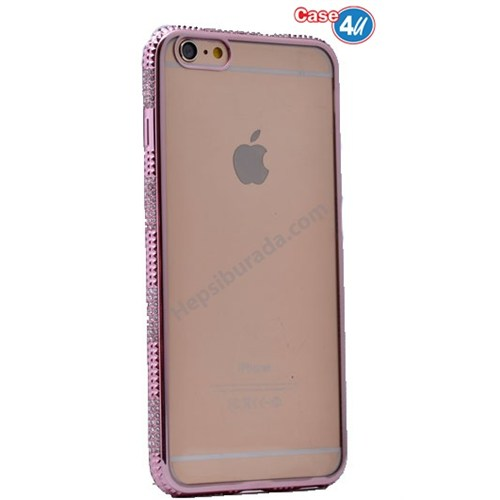 Case 4U Apple İphone 6S Taşlı Silikon Kılıf Pembe
