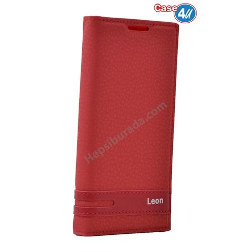 Case 4U Lg Leon Gizli Mıknatıslı Kapaklı Kılıf Kırmızı