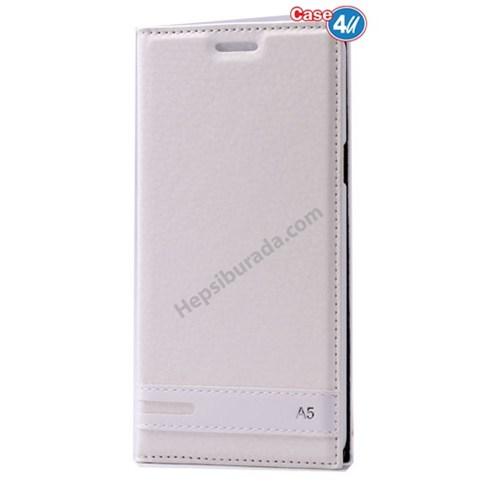 Case 4U Samsung A510 Galaxy A5 Gizli Mıknatıslı Kapaklı Kılıf Beyaz