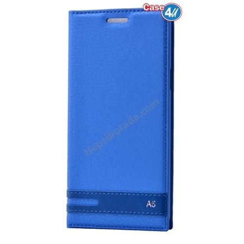 Case 4U Samsung A510 Galaxy A5 Gizli Mıknatıslı Kapaklı Kılıf Mavi