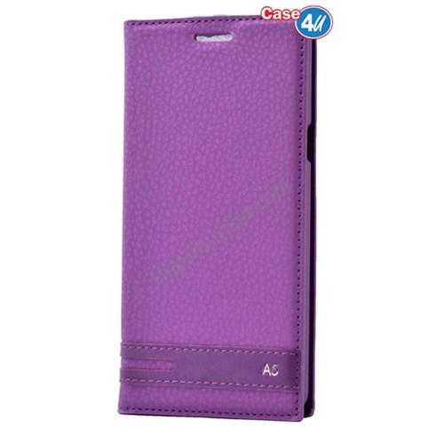 Case 4U Samsung A510 Galaxy A5 Gizli Mıknatıslı Kapaklı Kılıf Mor